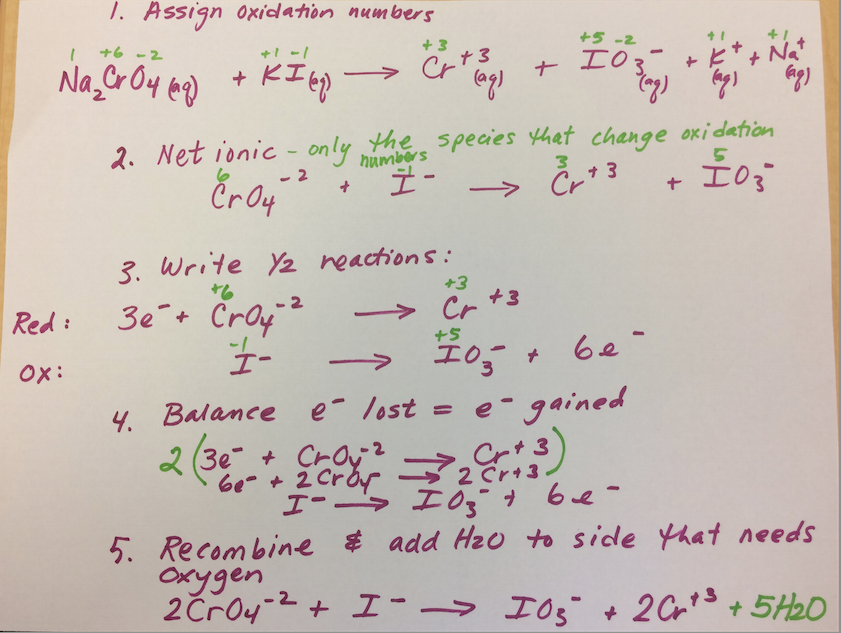 Balancing Redox Reactions - General Chemistry I at CSU